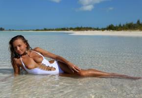 katya clover, clover, mango, caramel, beach, swimsuit, topless, tits, perky nipples, wet, tanned, hi-q