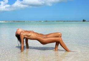 katya clover, clover, mango, caramel, beach, naked, tanned, tits, shaved pussy, wet, tattoo, hi-q, sea