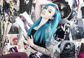 suicide girls, tattoo, blue hairs, bexcision, hi-q, sexy babe, long hair, body art