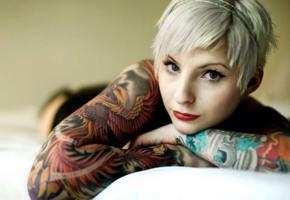 suicide girls, tattoo, blonde, bob, pale skin