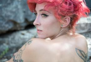 suicide girls, redhead, opal, ear ring, tattoo