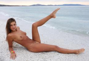 maria ryabushkina, maria, tara, melena, maria rya, brunette, beach, naked, tanned, tits, shaved pussy, spread legs, tattoo, ultra hi-q, sea