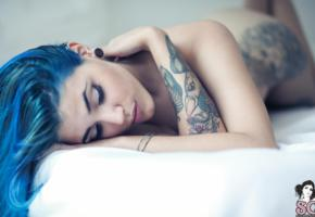 suicide girls, tattoo, sleeping, blue hairs, hi-q, young, sexy babe, close up, eyes, face