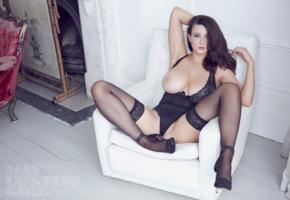 joey fisher, brunette, heels, big boobs, tits out, big tits, tits, boobs, stockings, busty, curvy, english, adult model, natural big tits, super boobs, hi-q