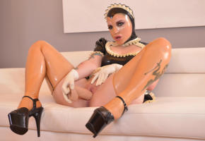 mary jale, dildo fucking, masturbation, latex, tight clothes, french maid, hood, plateau heels, fetish babe, teasing, dildo, lovetoy, insertion, shiny clothes, fetish, hi-q, rubberdoll