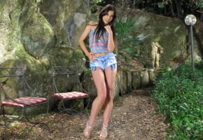 lorena garcia, inthecrack, beautiful, brunette, jeans shorts, long legs