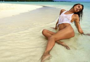 irina shayk, super model, brunette, beach, semi naked, tee shirt, wet, tanned, see through, sea