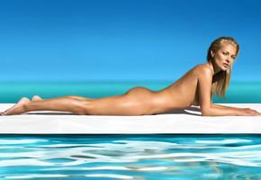 kate moss, supermodel, naked, beach, ass, blonde, tanned