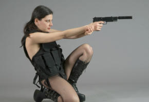 cosplay, hot, agent, black, boots, pantyhose, fishnet, gun