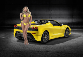ferrari, yellow, model, bikini, 2009 ferrari 430 scuderia spider 16m, bad quality