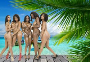 ebony, beach, five, big tits, tits, boobs, wet, sea, jada fire, skin diamond, misty stone