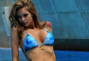 jessica jane clement, photoshoot, look, boobs, big tits, brunette, hot, sexy, nude, bikini top, pool