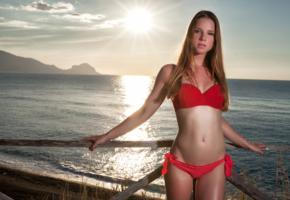 amanda, model, beach, sunset, sea, fence, bikini