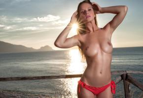 amanda, model, sunset, sea, fence, tits, topless