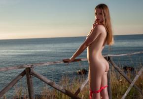amanda, model, beach, sunset, sea, fence, ass, undressing