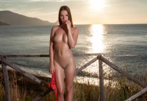 amanda, model, beach, sunset, sea, fence, tits, undressing, shaved pussy