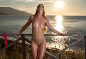amanda, model, beach, sunset, sea, fence, tits, undressing, shaved pussy, oiled