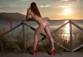 amanda, model, beach, sunset, sea, fence, ass, undressing, legs