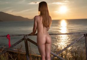 amanda, model, beach, sunset, sea, fence, ass, oiled