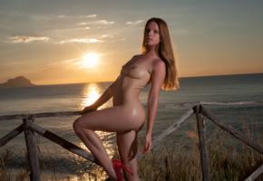 amanda, model, beach, sunset, sea, fence, ass, undressing, tits, legs, oiled