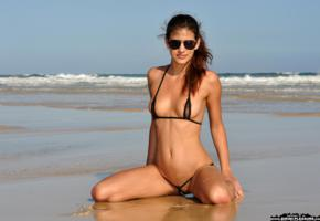 candice luca, bikini pleasure, micro bikini, sunglasses, boobs, tits, beach, sea, tanned