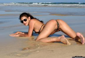 candice luca, bikini pleasure, micro bikini, ass, pussy, doggy, labia, beach, sea, wet, sunglasses, brunette