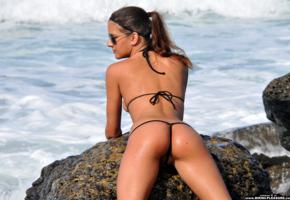 candice luca, bikini pleasure, micro bikini, ass, sexy ass, sea, wet, sunglasses, brunette