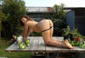 lilah, outdoor, brunette, ass, butt, pussy, doggy, tits, labia
