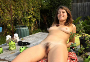 lilah, outdoor, pussy, haired pussy, smile, brunette, tits, boobs