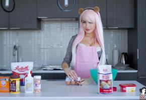 elie, pink hair, big tits, pinafore, piercing, smile, kitchen, cuisine, non nude, suicide girls