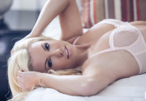 addison miller, blonde, playboy, playmate, bed, lingerie, sexy, hot, bra, see through