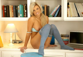 addison miller, blonde, playboy, playmate, naked, smile, stockings, books, sexy, hot, bra, laptop, tits out