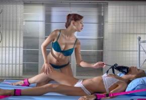 paula shy, sarah key, lesbian, bondage, lingerie, bra, 2 babes, girl girl pics, erotic, teasing, lingerie series