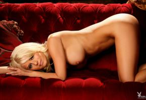 amber jay, blonde, playboy, nude, naked, cute, smile, couch, big boobs, boobs, posing