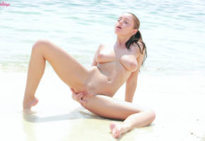 zara, fingering, hot, boobs, shaved pussy, pussy, spreading legs, tits, beach, sea