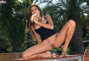 anita pearl, sexy, brunette, banana, shaved pussy, pussy, tropics, palm, spreading legs