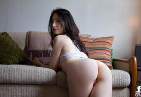 elie, ass, brunette, sexy ass, pussy, sofa