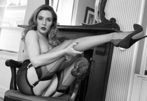 samantha bentley, hot, tits, heels, stockings