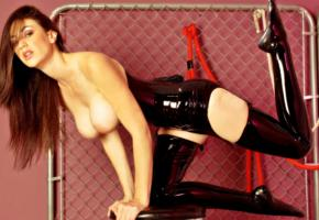 natalie minx, american, busty, adult model, pornactress, hot, long hair, fetish babe, latex, corselet, stockings, shiny, rubber, fetish, dungeon, boobs, natalie, widescreen cut