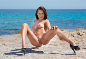michaela isizzu, mila k, brunette, beach, naked, tits, pink nipples, shaved pussy, landing strip, labia, ass, spread legs, high heels, hi-q