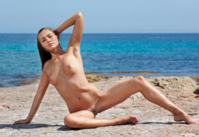 michaela isizzu, mila k, brunette, beach, naked, tits, pink nipples, shaved pussy, landing strip, labia, spread legs, hi-q