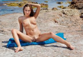 michaela isizzu, mila k, brunette, beach, naked, tits, pink nipples, shaved pussy, landing strip, labia, spread legs, hi-q