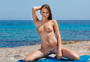 michaela isizzu, mila k, brunette, beach, naked, tits, pink nipples, shaved pussy, landing strip, labia, spread legs, hi-q, spreading legs