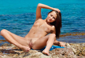 michaela isizzu, mila k, brunette, beach, naked, tits, labia, ass, spread legs, hi-q, trimmed pussy, pussy, small tits, oiled, spreading legs