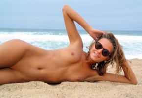 katya clover, clover, mango, caramel, beach, naked, small tits, shaved pussy, tan, sunglasses, smile, hi-q, sea, tanned