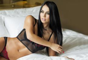 michelle sarmiento, brunette, long hairs, perfect girl, model, lingerie, bed, panties, widescreen cut, low q, colombian, latina, actress