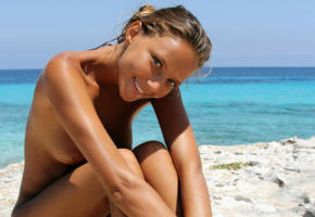 model, brunette, nude, katia clover, mango a, beach, sea, tanned, smile, katya clover, clover, mango, caramel