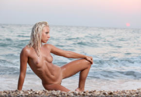 gertruda, platinum blonde, beach, naked, tits, shaved pussy, wet, hi-q, sea, tanned