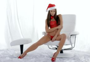 christmas, caprice, little caprice, marketa, caprice a, brunette, lingerie, panties, see through, top, nipples, hat, high heels, chair, bowtie, hi-q