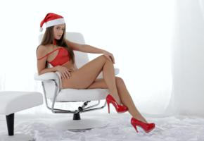 christmas, caprice, little caprice, marketa, caprice a, brunette, lingerie, see through, top, hat, high heels, bowtie, legs, chair, hi-q